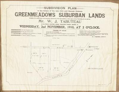 Plan, Greenmeadows suburban lands for sale