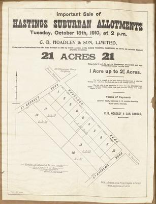 Plan, Hastings suburban allotments for sale