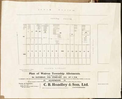 Plan, Wairoa township allotments for sale