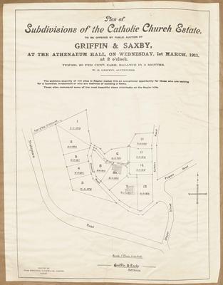 Plan, subdivision of the Catholic Church Estate