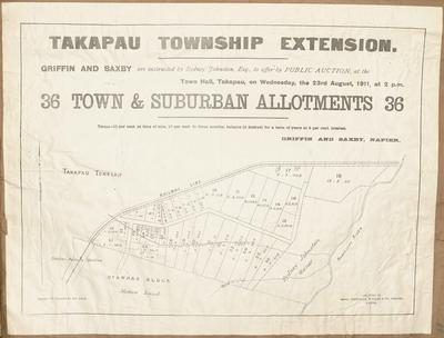 Plan, Takapau township sections for sale; Dinwiddie, Walker and Company Limited; Griffin & Saxby