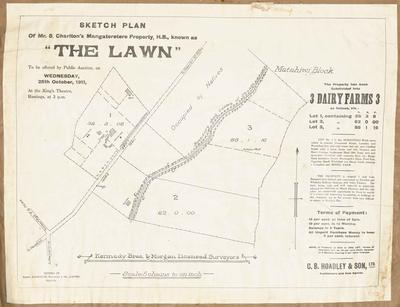 Plan, Mr S Charlton's Mangateretere land for sale