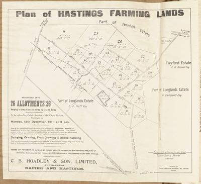 Plan, Hastings farming lands for sale