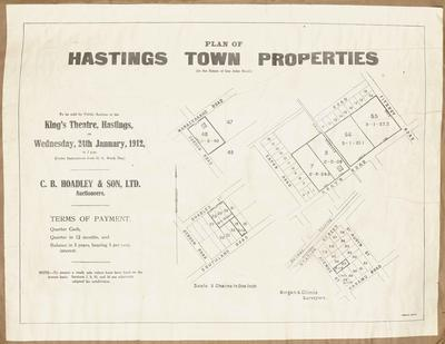 Plan, Hastings town properties for sale; Herald Lithography; Morgan & Climie