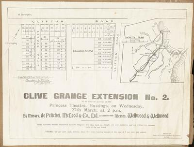 Plan, Clive Grange extension No 2 land for sale; Dinwiddie, Walker and Company Limited; Morgan & Climie