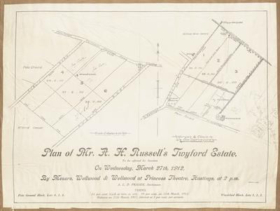 Plan, A H Russell's Twyford Estate land for sale