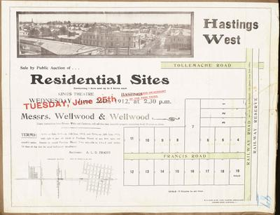 Plan, Hastings West residential sites for sale; Wellwood & Wellwood; Cliff Press