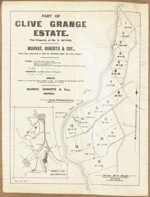 Plan, Portion of Clive Grange Estate for sale