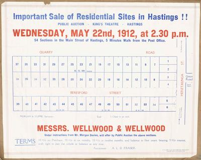 Plan, Hastings residential sites for sale