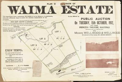 Plan, Waima Estate land for sale; Hart Print; Morgan & Climie; Poll, Wallace