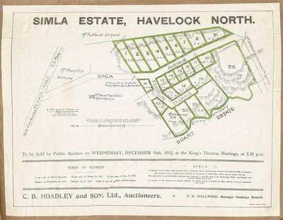 Plan, Simla Estate land for sale; Herald Lithography; Morgan & Climie