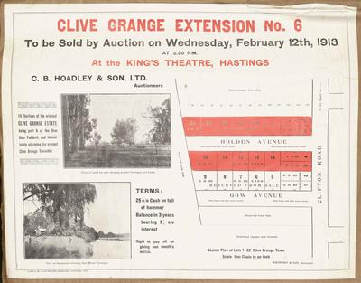 Plan, Clive Grange extension No6 land for sale