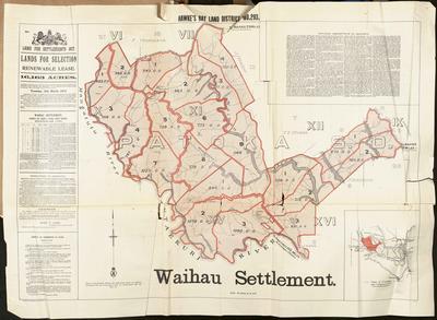 Map, Waihau Settlement; MacKay, John