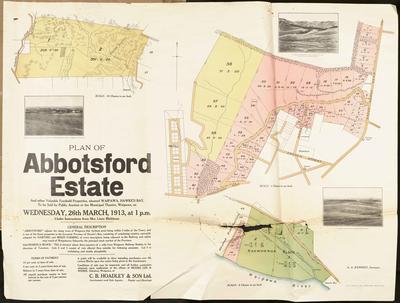Plan, Abbotsford Estate land for sale; Kennedy, Arthur Angus; Cliff Press