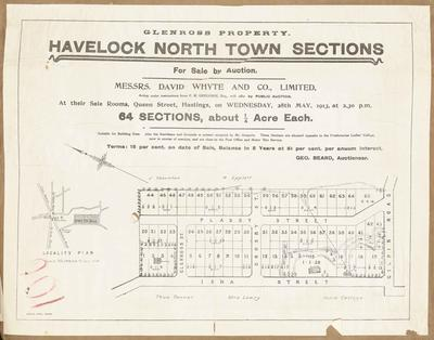 Plan, Havelock North town sections for sale