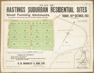 Plan, Hastings suburban residential sites and small farms for sale; C B Hoadley & Son; Wellwood, N R; Cliff Press