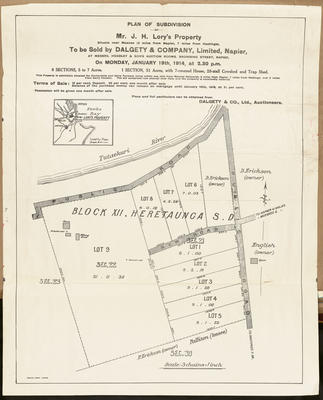 Plan, Subdivision of Mr J H Lory's property