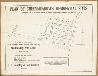 Plan, Greenmeadows residential sites; Herald Lithography; Kennedy, Arthur Angus