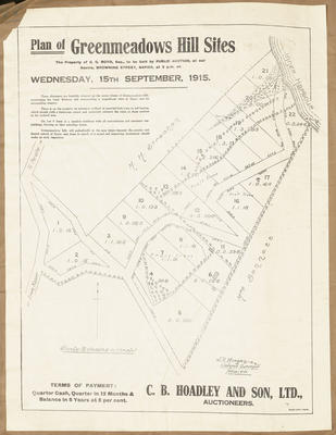 Plan, Greenmeadows hill sites for sale; Herald Lithography; Morgan, James Rice