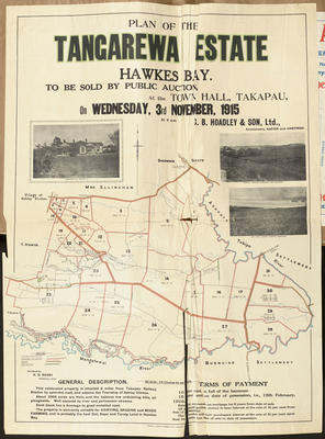 Plan, Tangarewa Estate land for sale; Turnbull, Hickson & Gooder Ltd; Saxby, A G