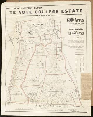 Plan, Te Aute college land for sale