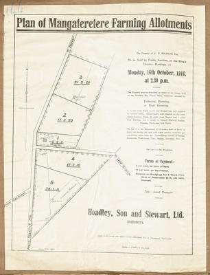 Plan, Mangateretere farm allotments for sale; Rochfort Son & Thompson; Herald Lithography