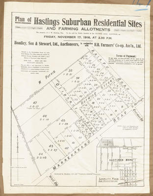 Plan, Hastings suburban residential sites and farm lots for sale; Rochfort Son & Thompson; Herald Print