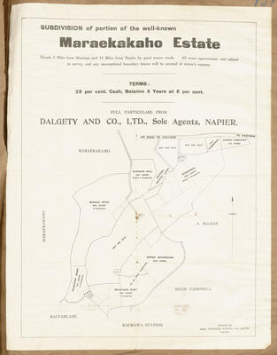 Plan, subdivision of portion of Maraekakaho Estate; Dinwiddie, Walker and Company Limited