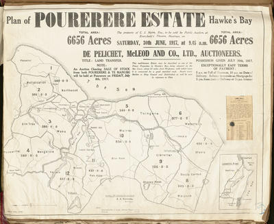 Plan, Pourerere Estate land for sale; Herald Lithography; Kennedy, Arthur Angus