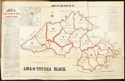Map, Awa-o-Totara land block for sale; Marks, Marcus