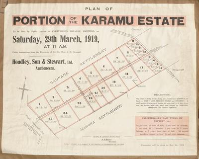 Plan, portion of the Karamu Estate land for sale