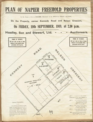 Plan, Napier freehold properties for sale; Herald Print