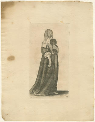 Lady with Veil and Feather Fan