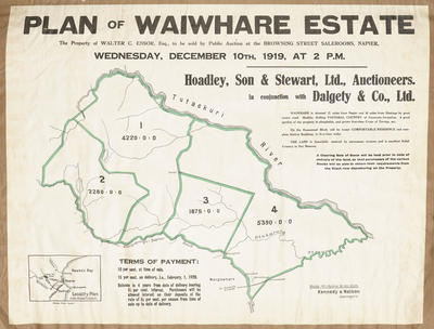 Plan, Waiwhare Estate land for sale; Herald Print; Kennedy & Nelson