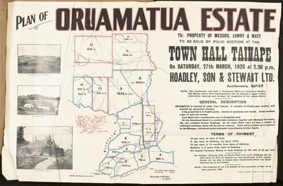 Plan, Oruamatua Estate land for sale; Turnbull, Hickson & Gooder Ltd; Kennedy & Nelson