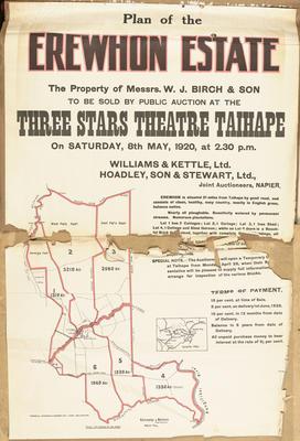 Plan, Erewhon Estate land for sale; Turnbull, Hickson & Gooder Ltd; Kennedy & Nelson