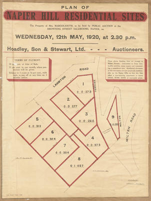Plan, Napier hill residential sites