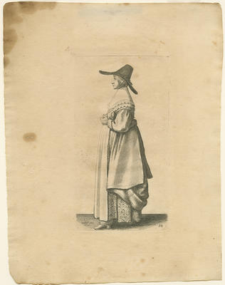 Lady with Wide Brimmed Hat and Brocaded Underskirt