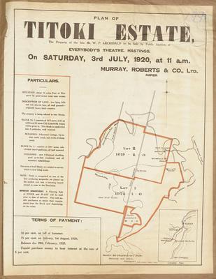 Plan, Titoki Estate land for sale; Hawke's Bay Herald; Kennedy & Nelson