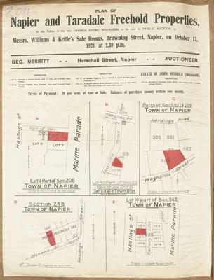 Plan, Napier & Taradale freehold sections for sale; Kennedy & Nelson