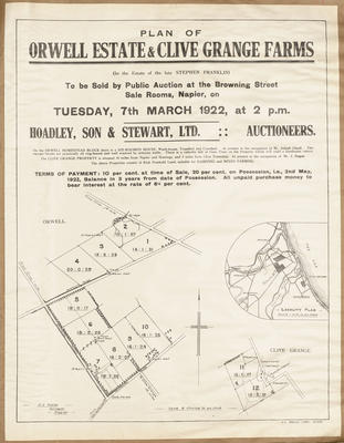 Plan, Orwell Estate land for sale; Herald Lithography; Saxby, A G