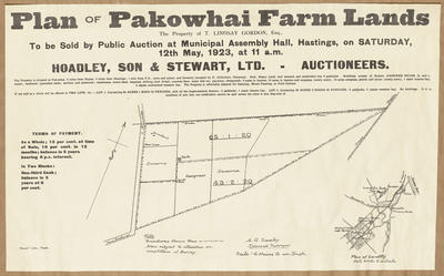 Plan, Pakowhai farm lots for sale; Herald Lithography; Saxby, A G
