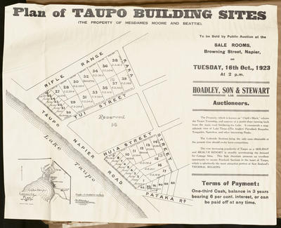 Plan, Taupo building sites for sale; Herald Lithography; Morgan, James Rice