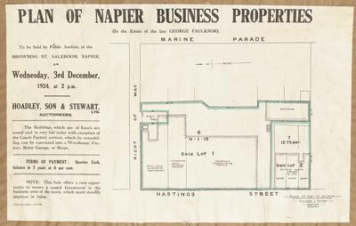 Plan, Napier business properties for sale; Kennedy & Nelson; Herald Lithography