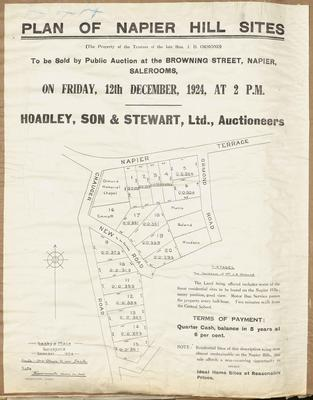 Plan, Napier hill sites for sale; Saxby & Mace; Herald Lithography