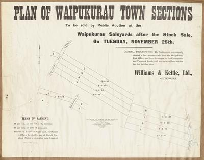 Plan, Waipukurau town sections for sale; Kennedy & Nelson; Herald Lithography
