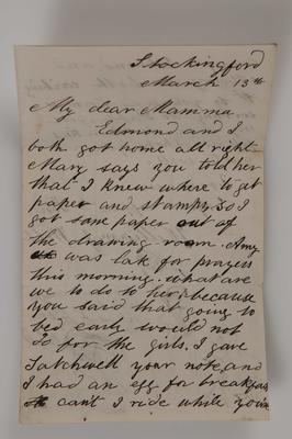 Letter and envelope, William J Webb