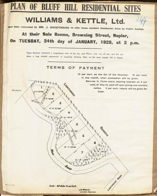 Plan, Bluff hill residential sites for sale; Morgan, James Rice; Herald Lithography