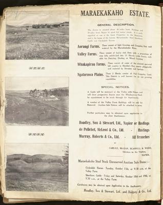 Plan, Maraekakaho Estate land for sale; Herald Lithography; Kennedy, Arthur Angus