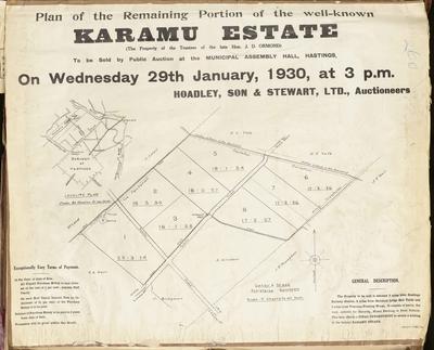 Plan, Karamu Estate land for sale; Herald Lithography; Saxby & Mace